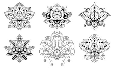 Lotus flower with geometric ornament linear illustrations set. Indian sacred symbols pack icon