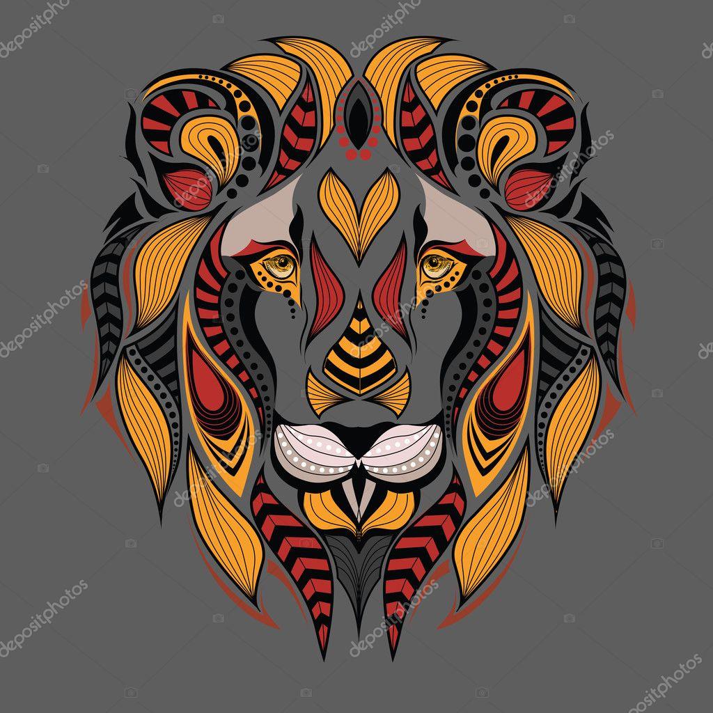 Dibujos Tatuajes De Cabezas De Leones Con Dibujos De Colores La