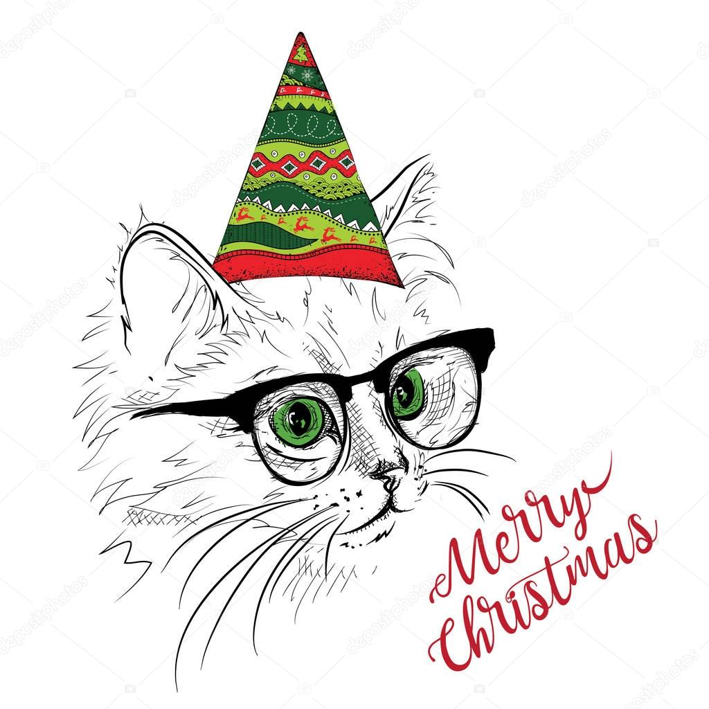 Hand draw cat in a celebratory cap. Merry Christmas card design ...