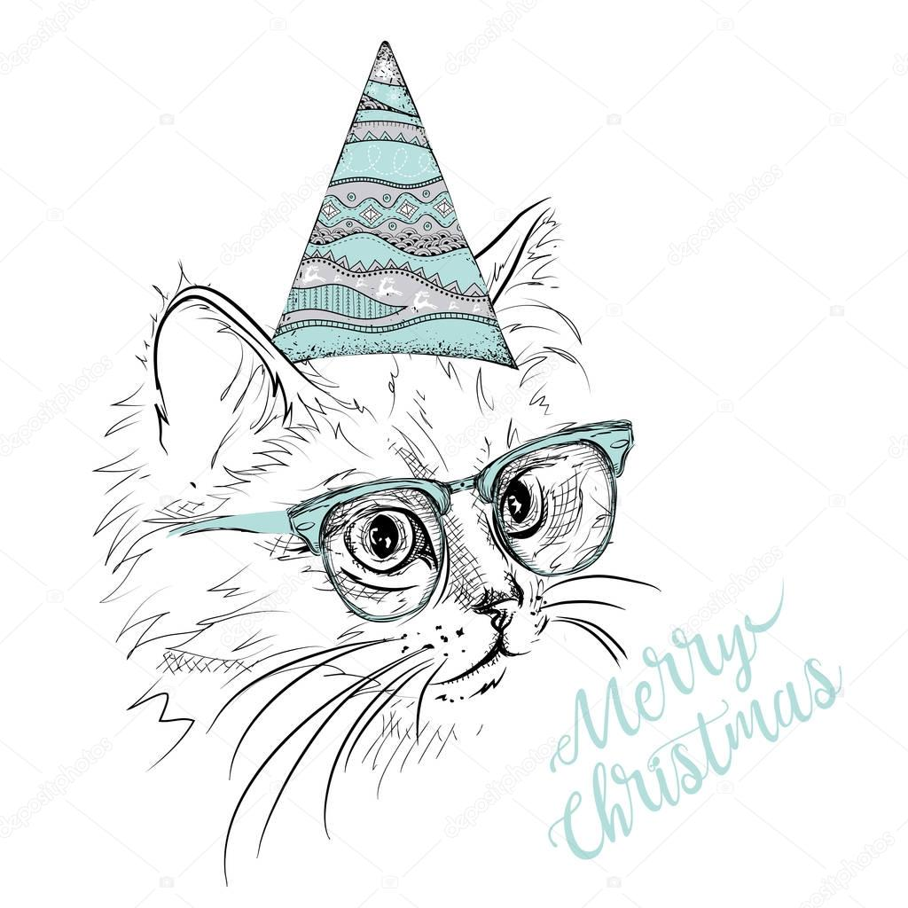 Christmas Card Drawing.Hand Draw Cat In A Celebratory Cap Merry Christmas Card