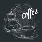 Vintage vektorové ilustrace. Mlýnek na kávu. Šálek kávy se lžičkou