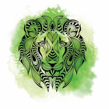 Patterned colored head of the lion. African, indian, totem, tattoo design. It may be used for design of a t-shirt, bag, postcard and poster. Abstract Background with Watercolor Stains, Vector Design