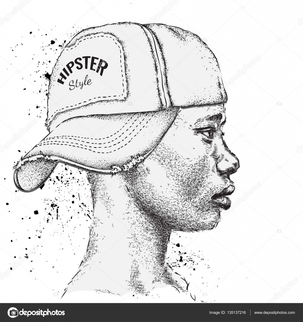 African American Man In Hand Drawn Baseball Cap Profile View Hand Draw  Vector Illustration €� Stock Illustration