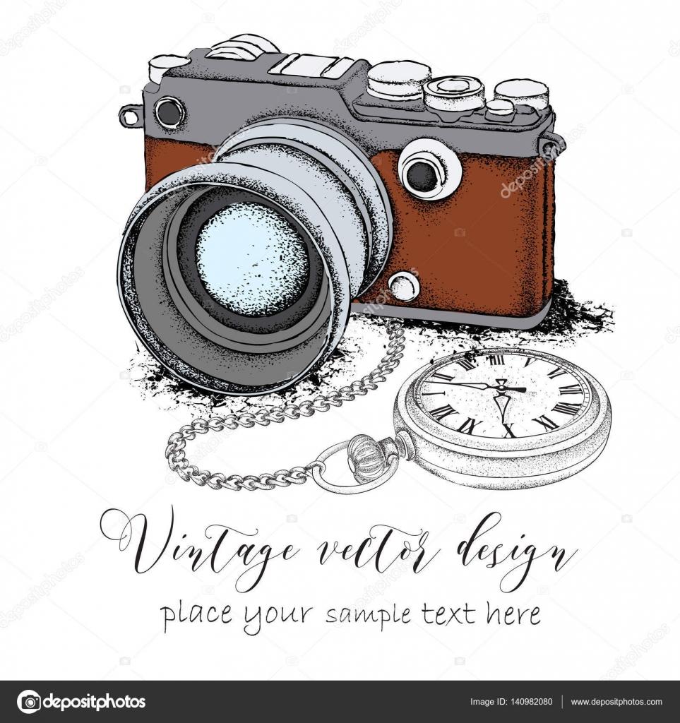 Taschenuhr gezeichnet  gezeichnete Postkarte. Kamera mit Taschenuhr auf eine Chainon ...