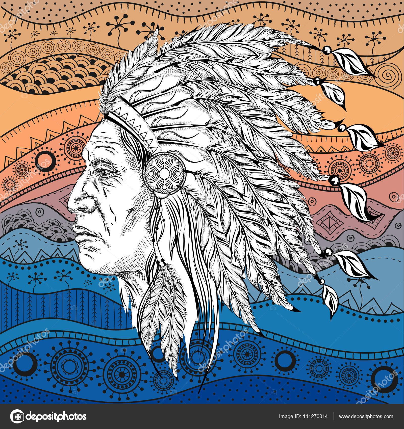 Der Mensch in der Native American Indian Chief. Schwarzen Roach ...