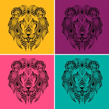 Patterned colored head of the lion. Pop art style vector illustration.