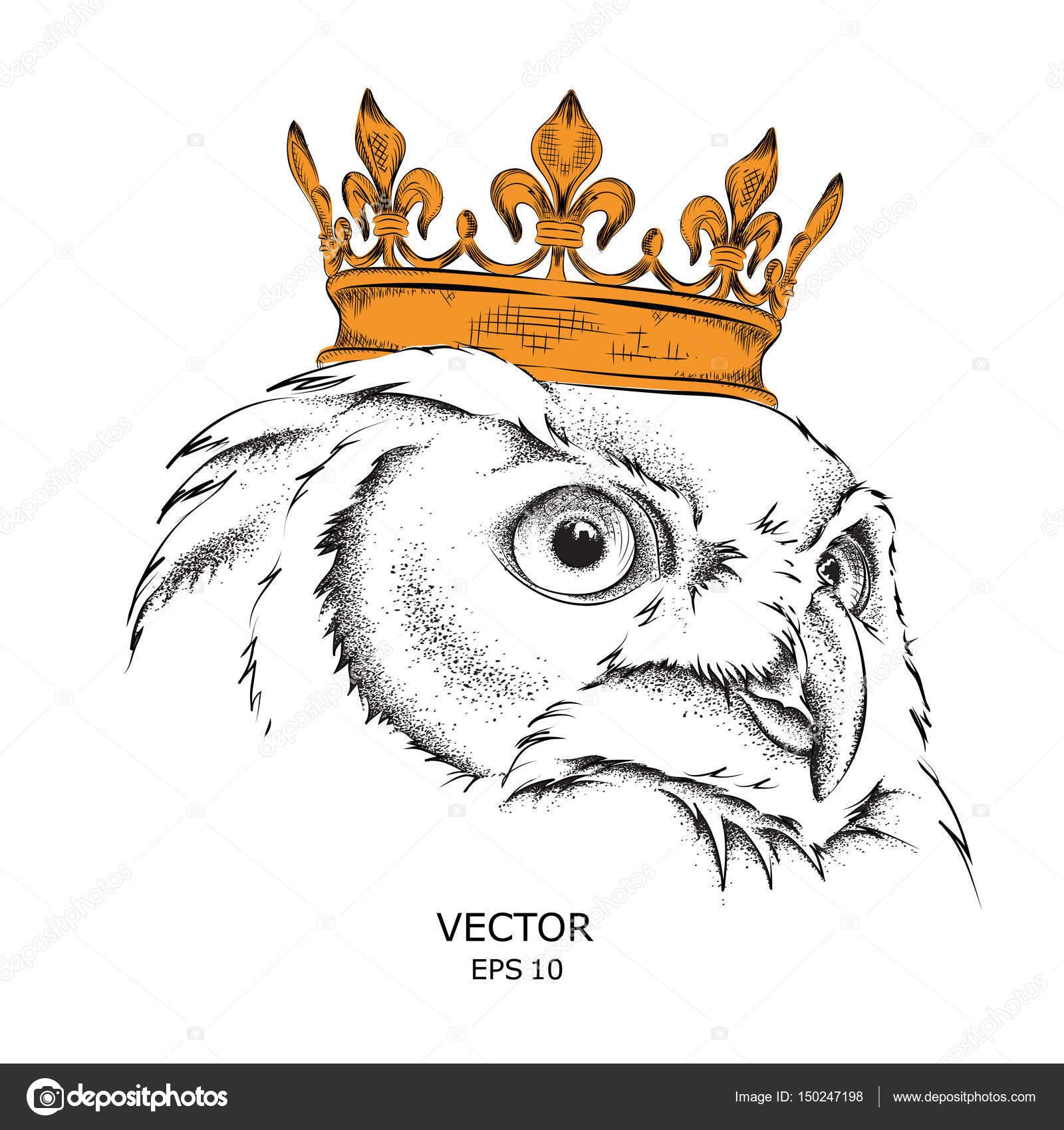 Diseño De Coronas Para Tatuar Mano Dibujar Buho Del Retrato De La