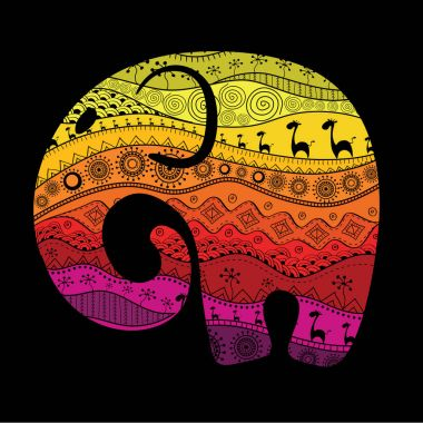Silhouette of an elephant filled with African national patterns. Vector illustrationSilhouette of an elephant filled with African national patterns. Vector illustration