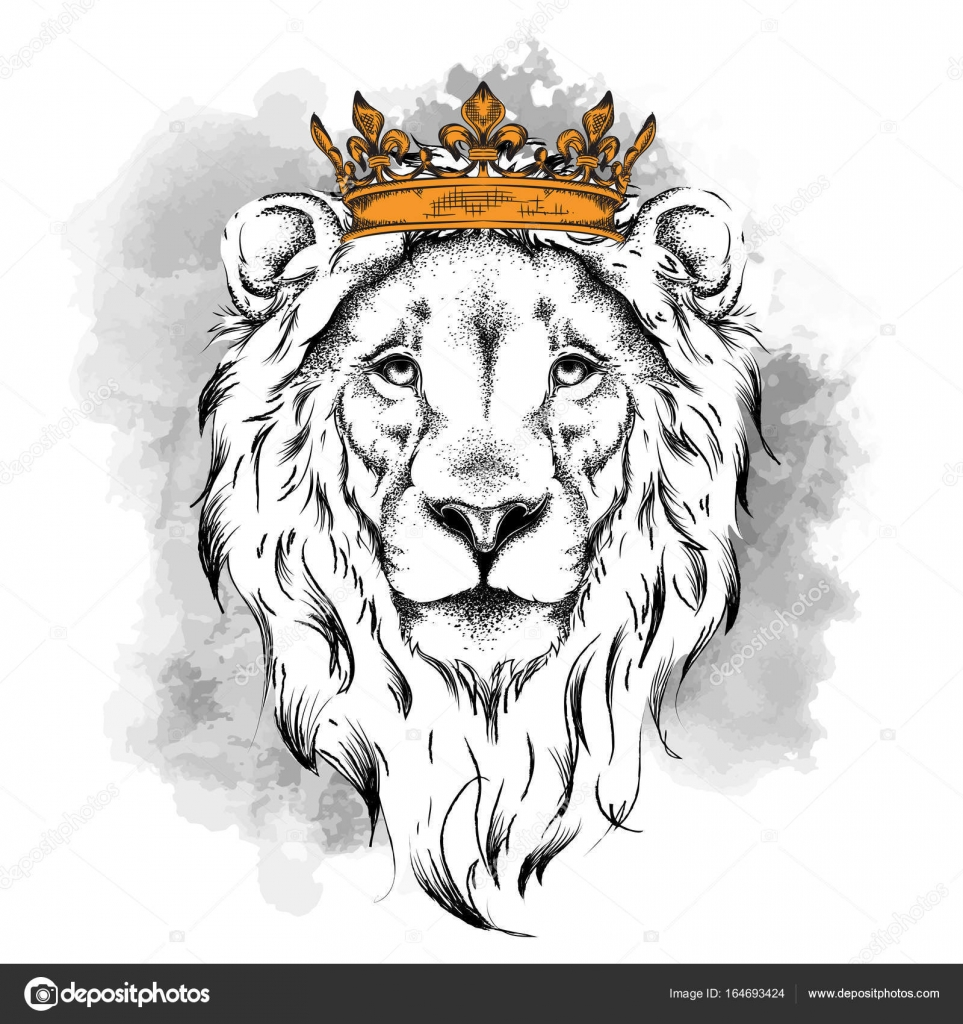 ethnic hand drawing head of lion wearing crown it can be