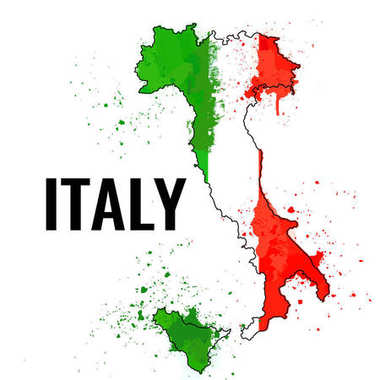 The outline of the Italy with a watercolor flag inside. Vector illustration
