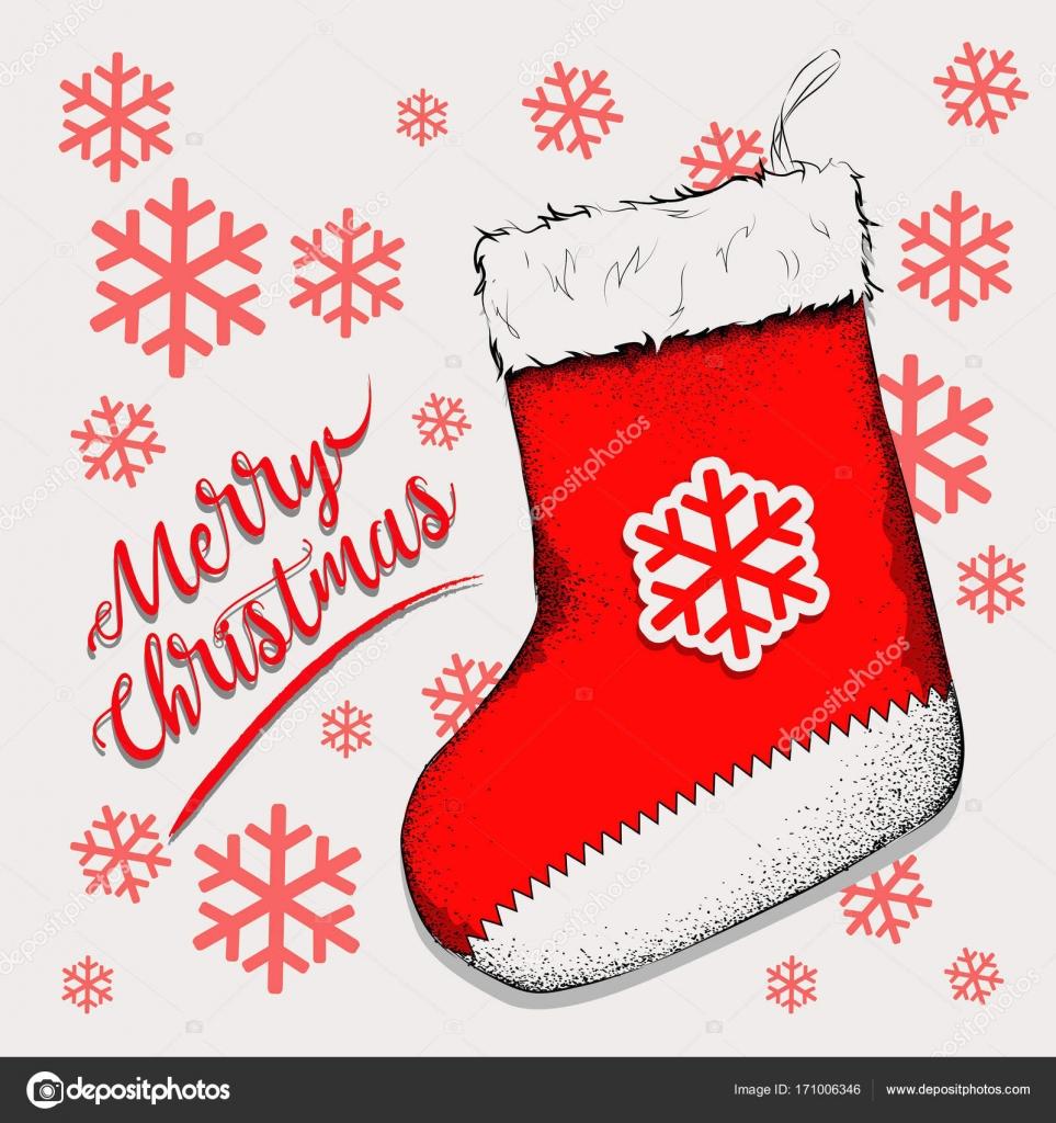 Weihnachtssocke für Geschenke, die auf dem Kamin hängen. Socke-Sankt ...
