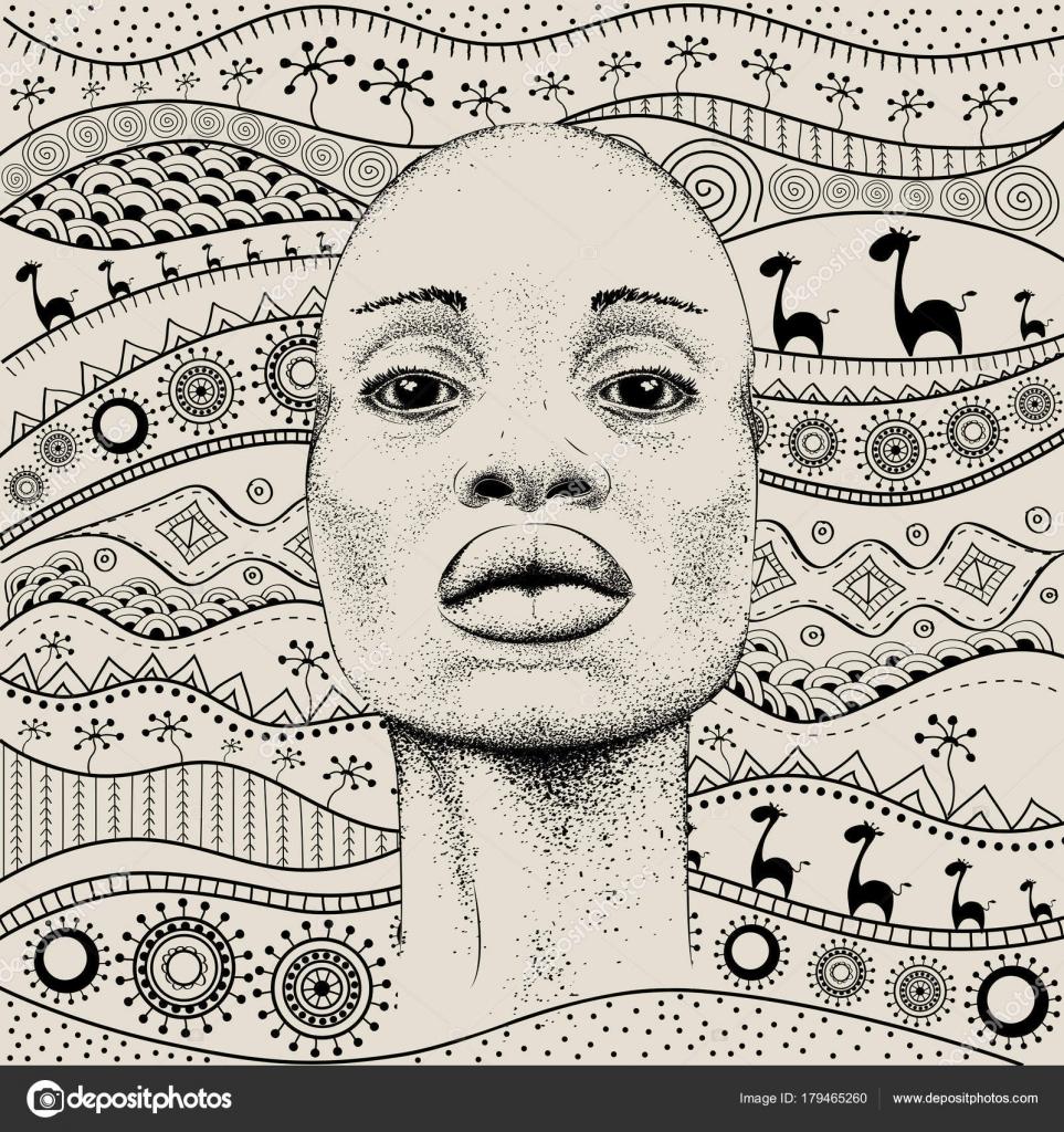 afrikanisches mdchen mit afrikanischer hand zeichnen ethno muster stammes hintergrund schne schwarze frau hhenplan vektor illustration vektor von - Schone Muster Zum Zeichnen