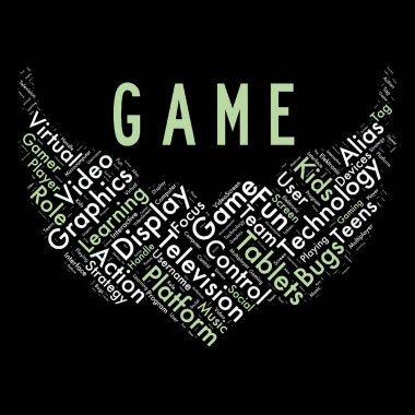 Word cloud of the game as background
