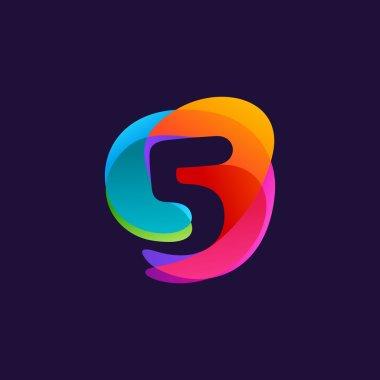 Number five logo at colorful multicolor splash background. 5 ico