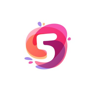 Number five logo at colorful watercolor splash background. icon.