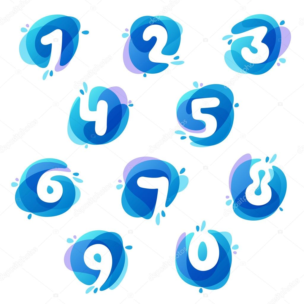 numbers set logos at blue water splash background stock vector