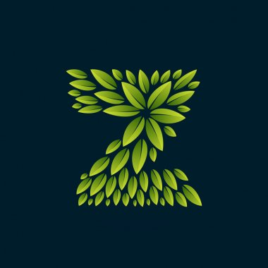 Z letter logo formed by fresh green leaves.