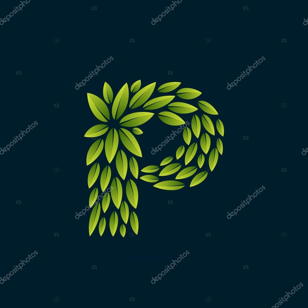 P letter logo formed by fresh green leaves.