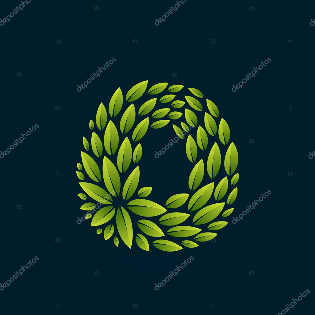 O letter logo formed by fresh green leaves.