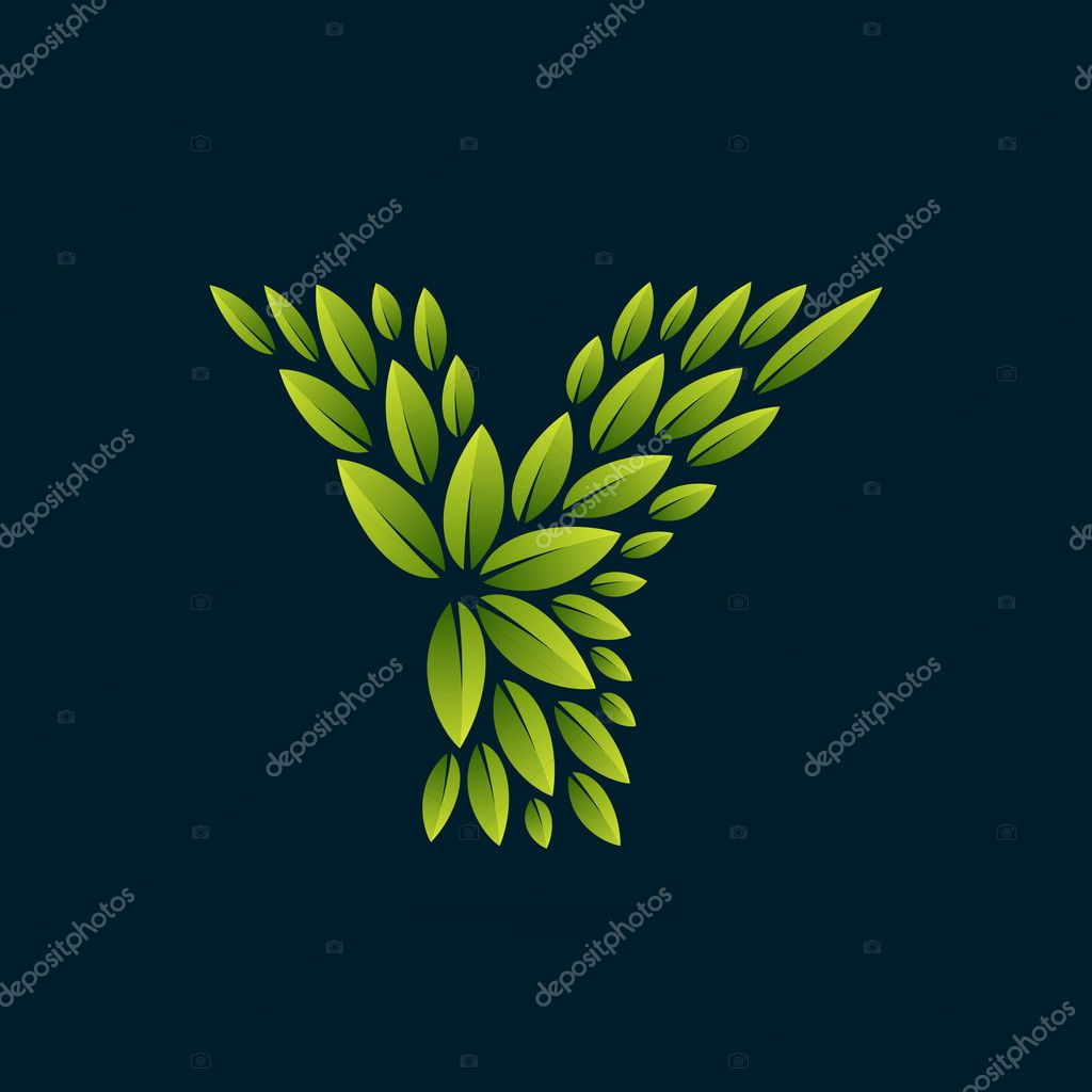 Y letter logo formed by fresh green leaves.