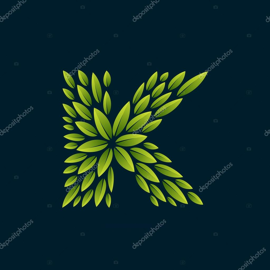 K letter logo formed by fresh green leaves.