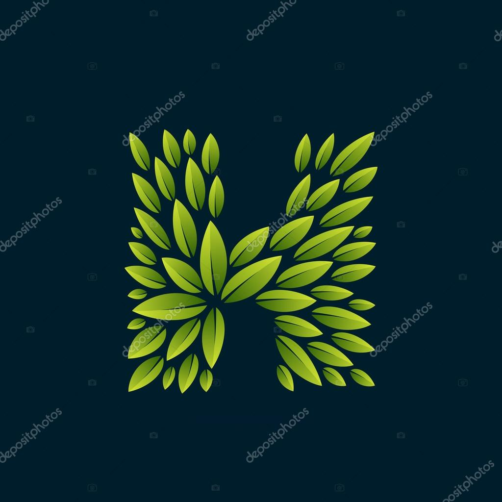 H letter logo formed by fresh green leaves.