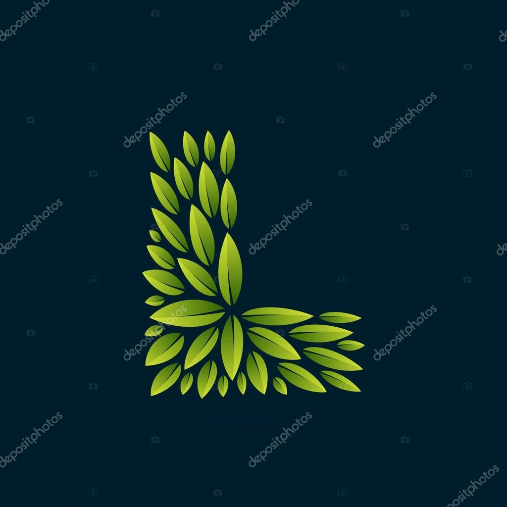 L letter logo formed by fresh green leaves.
