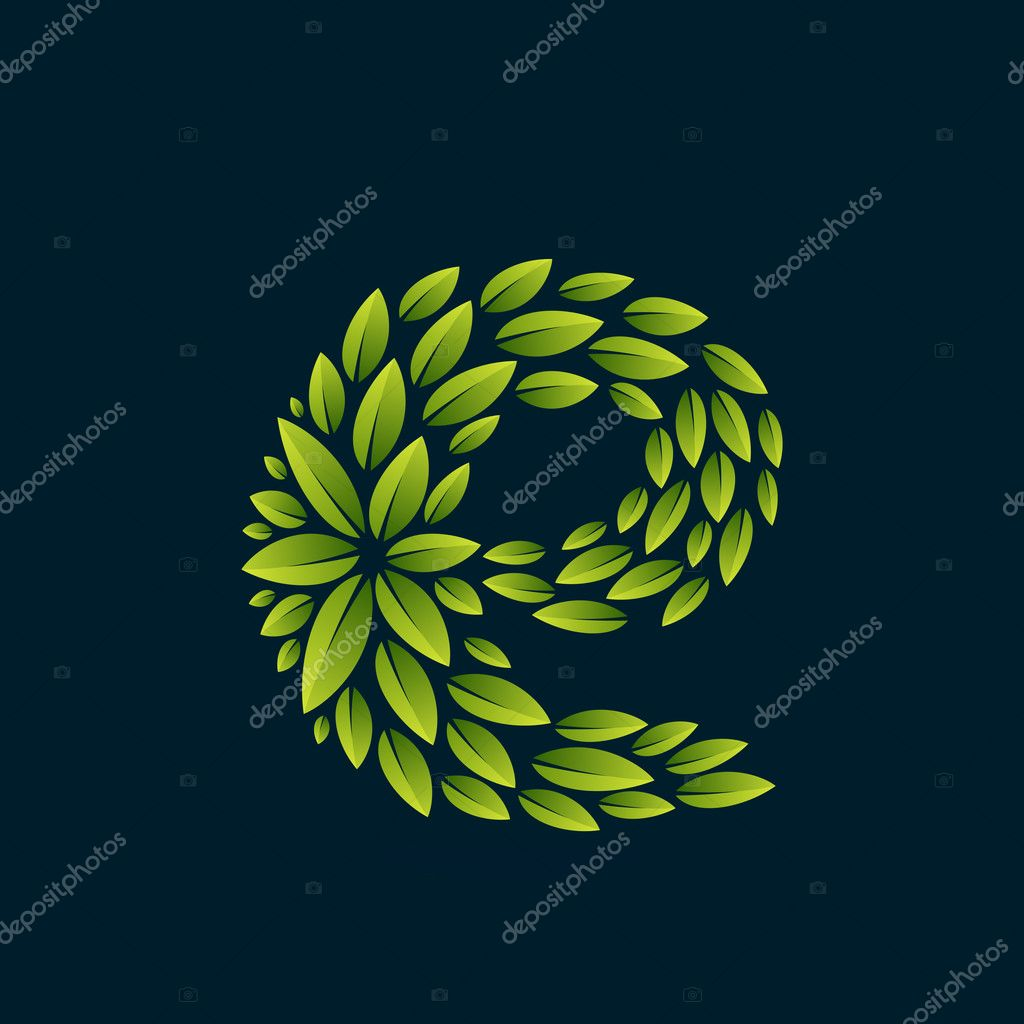 E letter logo formed by fresh green leaves.
