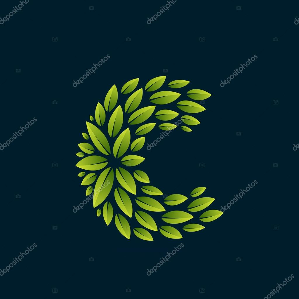 C letter logo formed by fresh green leaves.