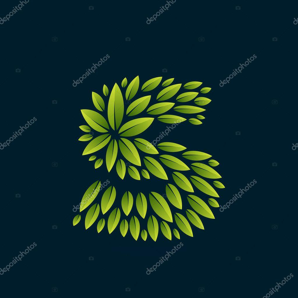 S letter logo formed by fresh green leaves.