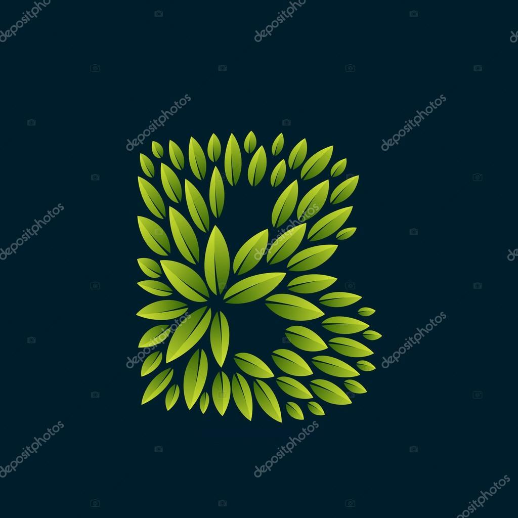 B letter logo formed by fresh green leaves.