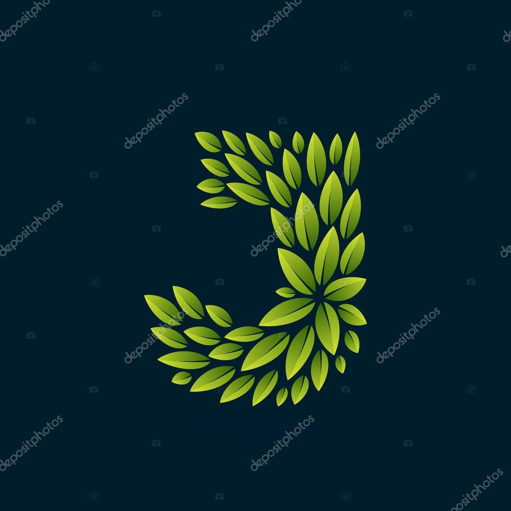 J letter logo formed by fresh green leaves.