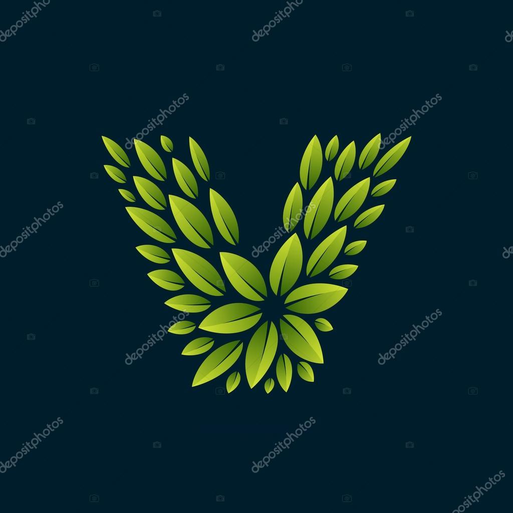 V letter logo formed by fresh green leaves.