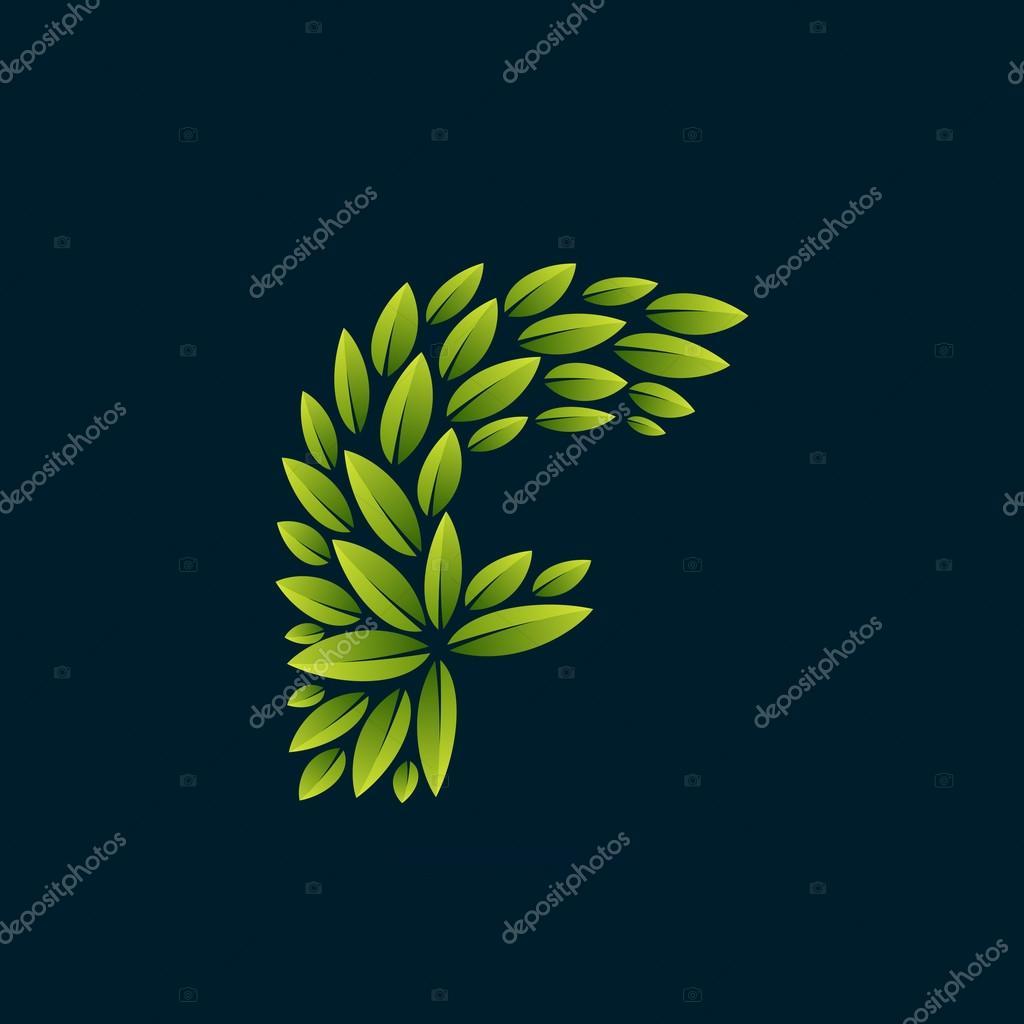 F letter logo formed by fresh green leaves.