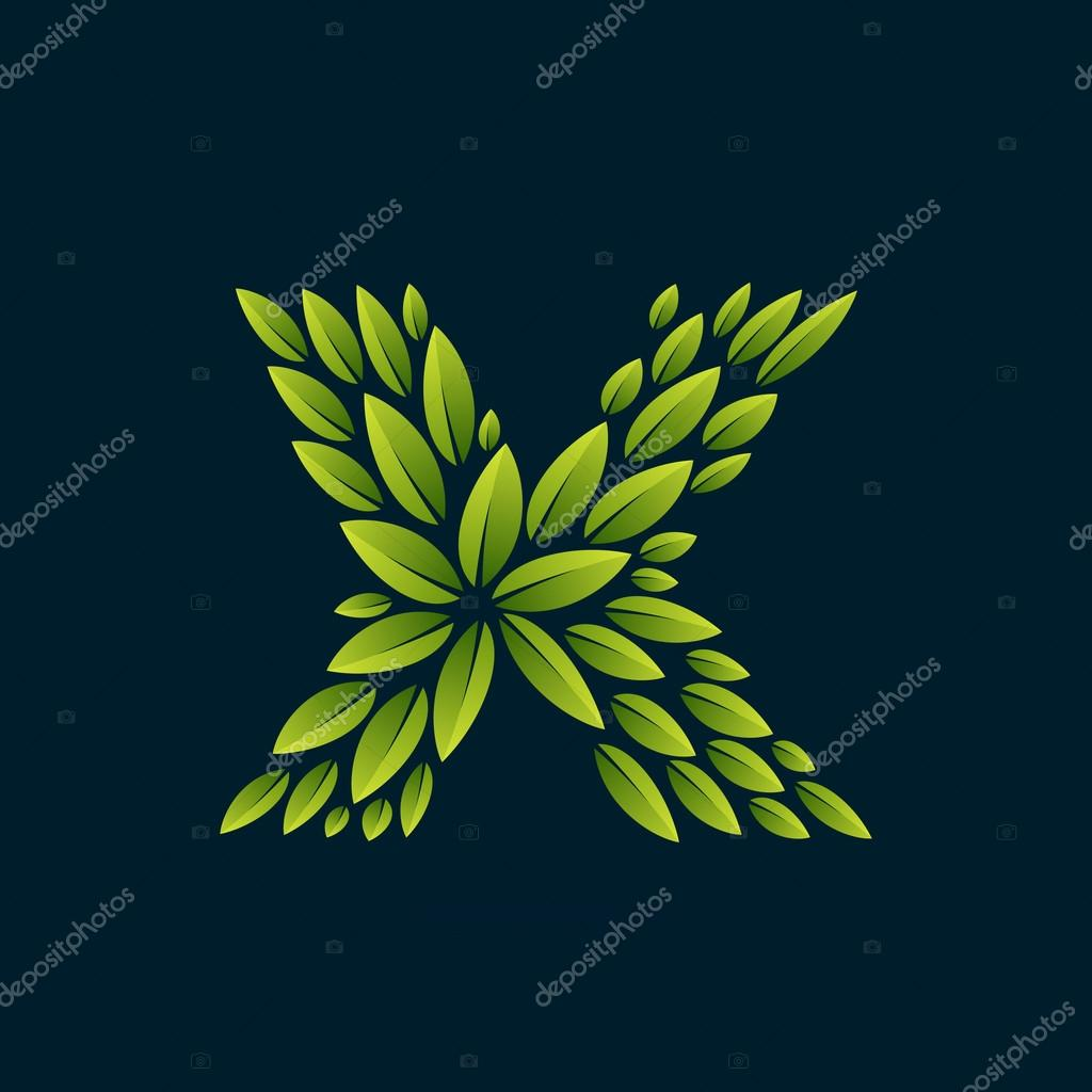 X letter logo formed by fresh green leaves.