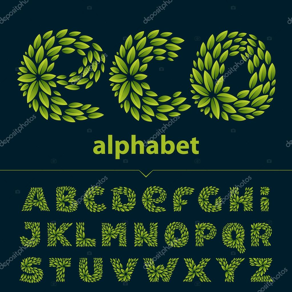 Alphabet logos formed by fresh green leaves.