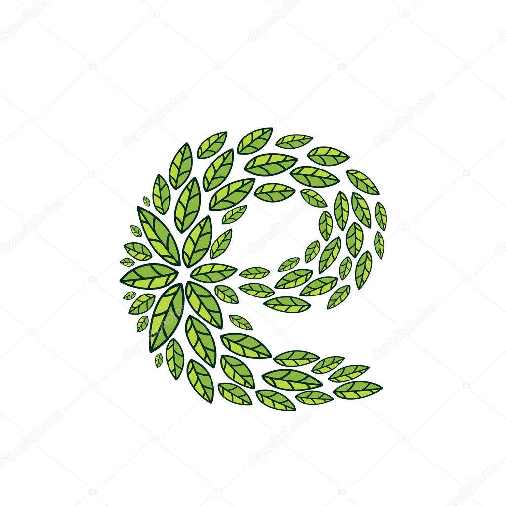 E letter logo formed by vintage pattern, line green leaves.