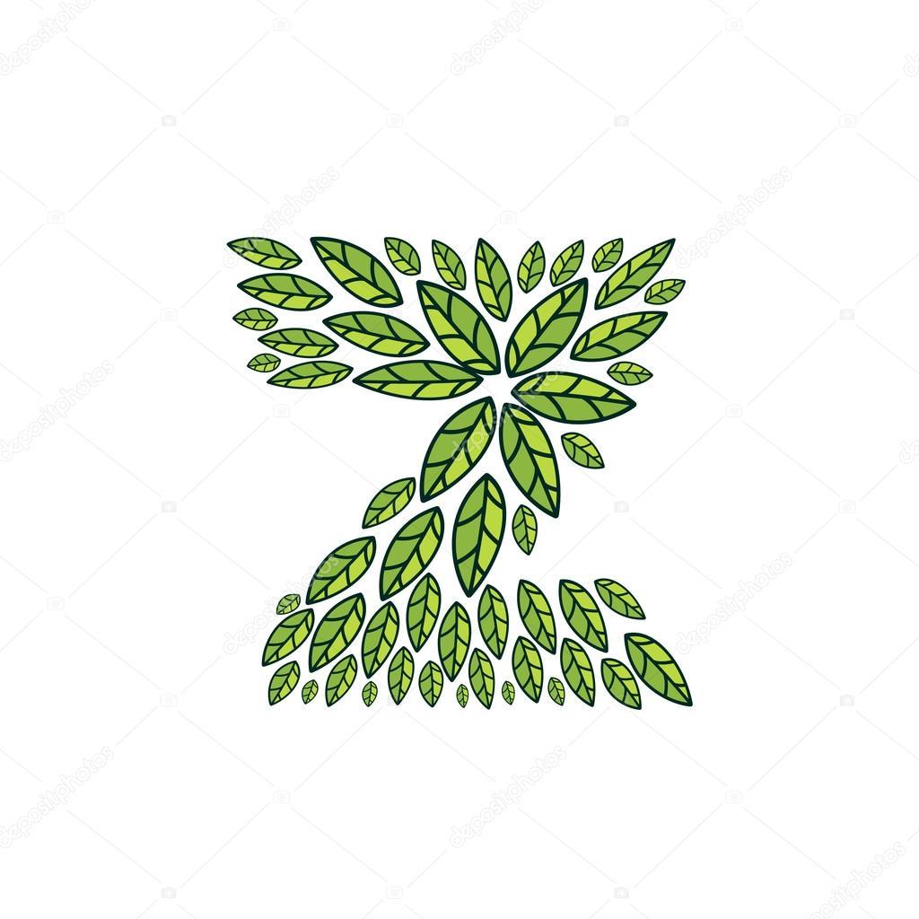 Z letter logo formed by vintage pattern, line green leaves.