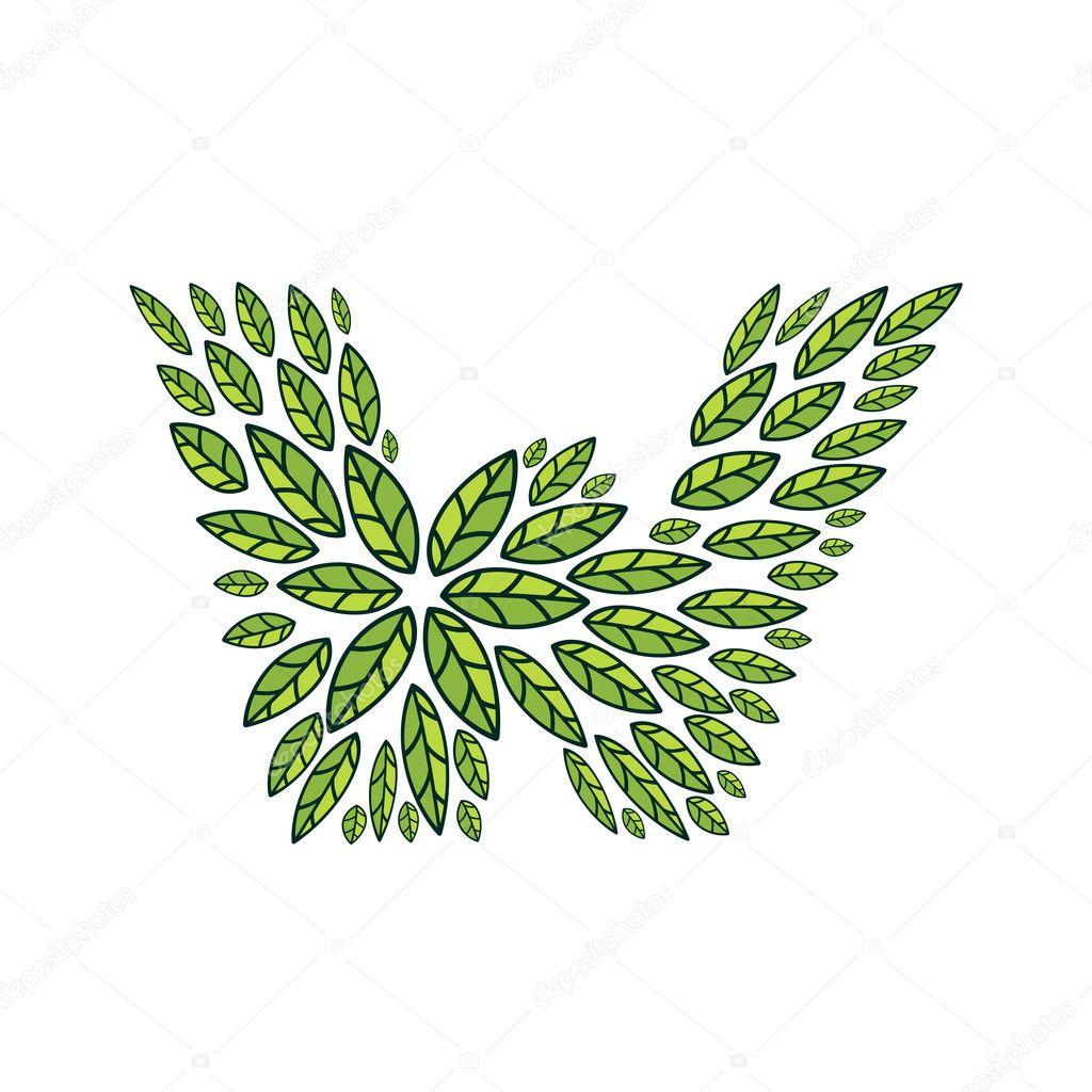 W letter logo formed by vintage pattern, line green leaves.