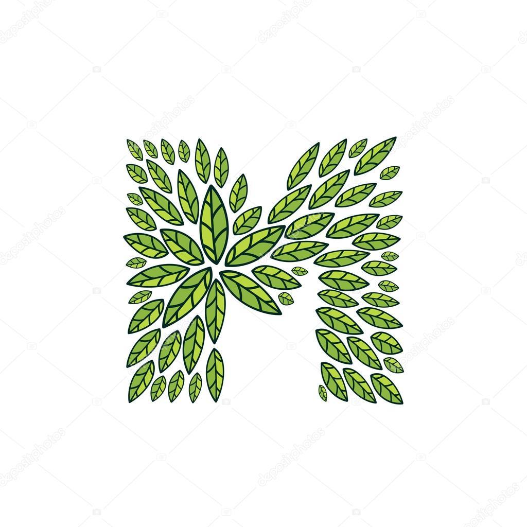 M letter logo formed by vintage pattern, line green leaves.