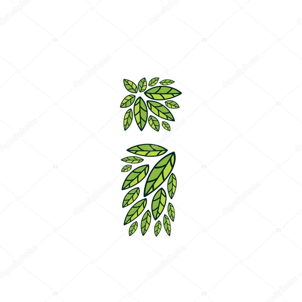 Letter I logo formed by vintage pattern, line green leaves.