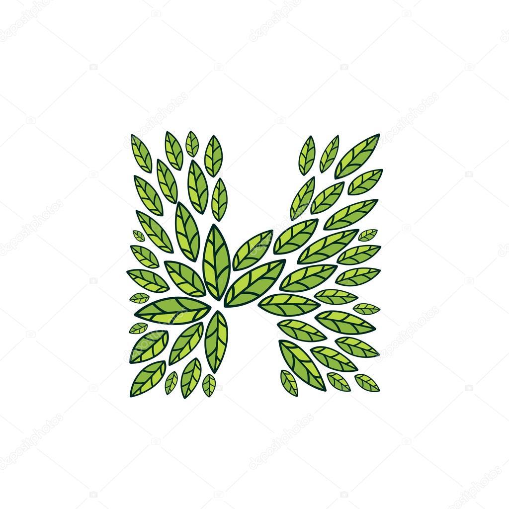 H letter logo formed by vintage pattern, line green leaves.