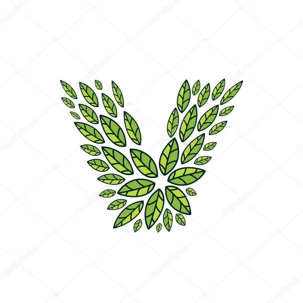 V letter logo formed by vintage pattern, line green leaves.