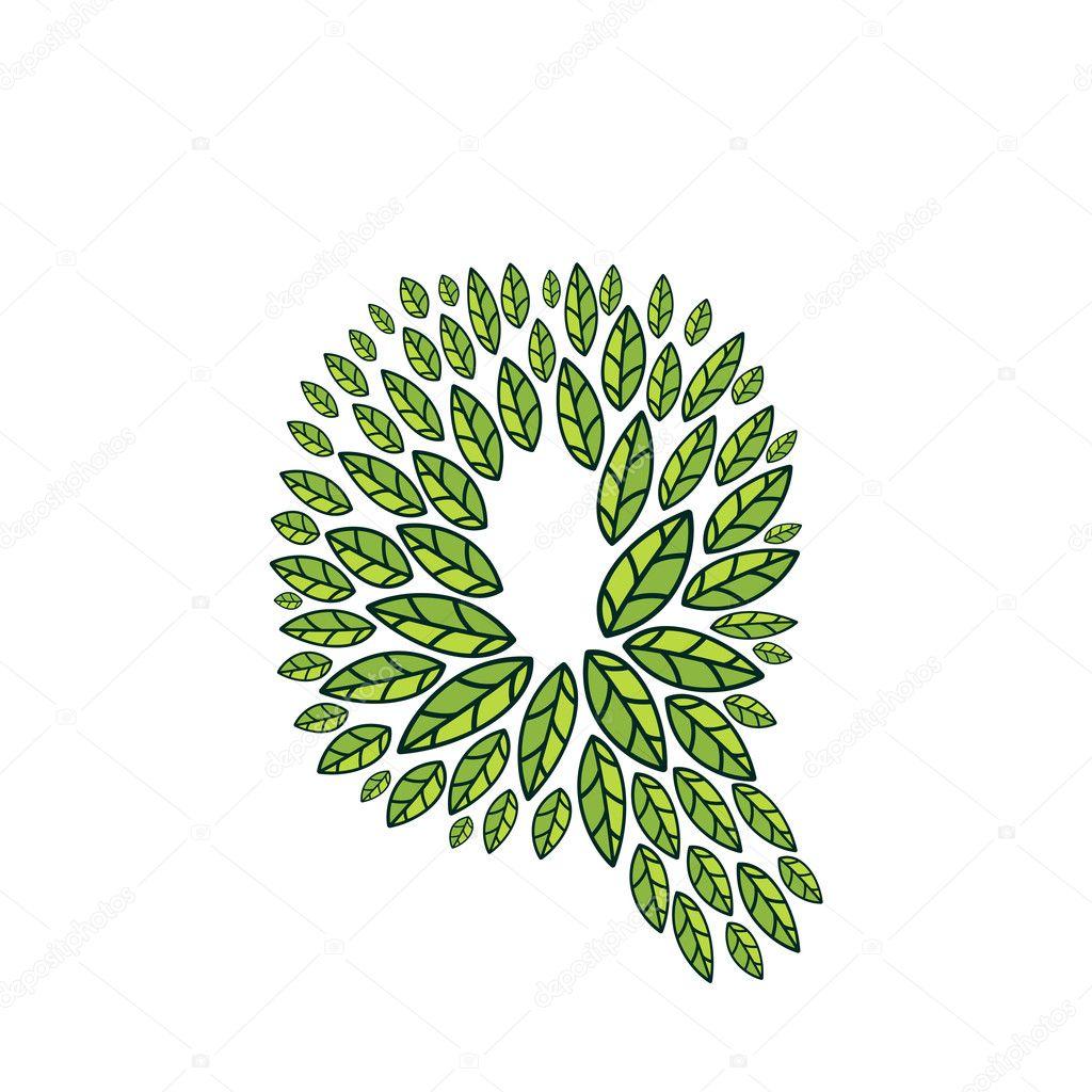 Q letter logo formed by vintage pattern, line green leaves.
