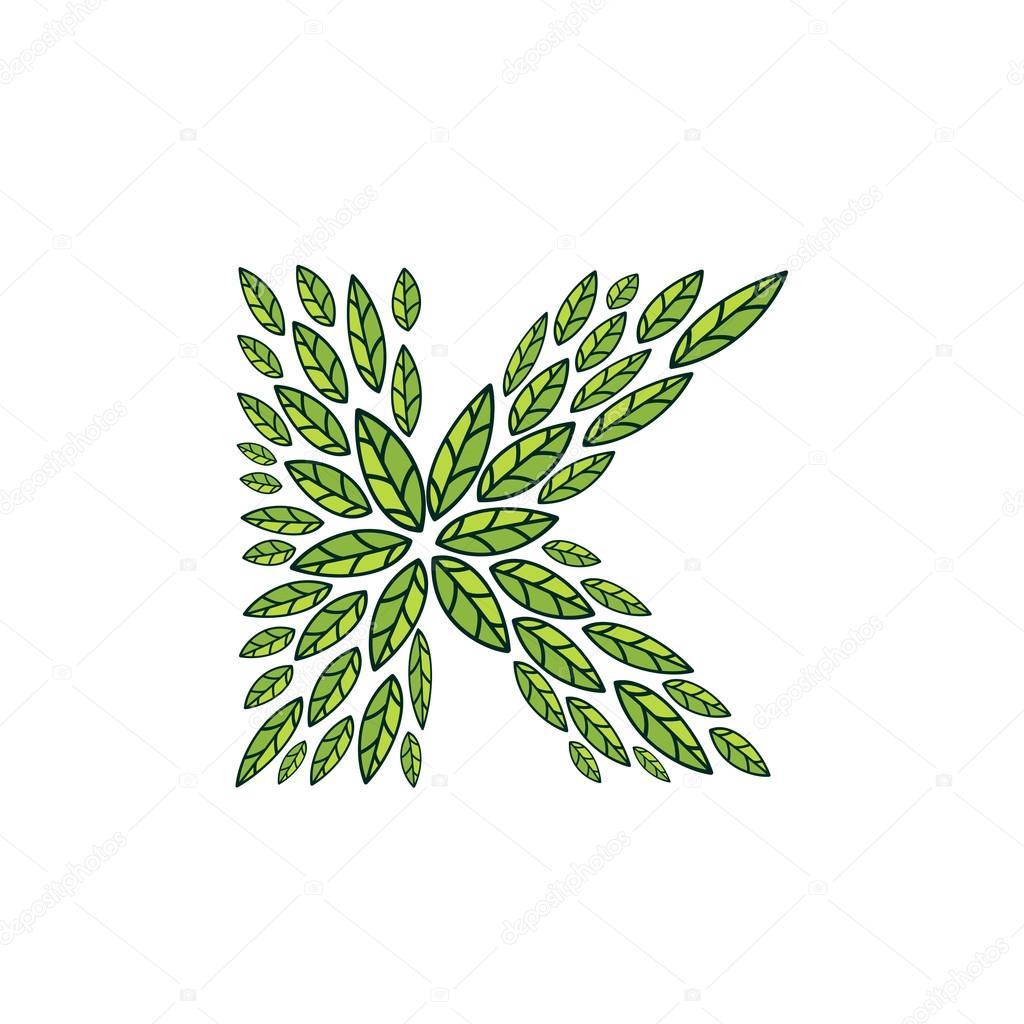K letter logo formed by vintage pattern, line green leaves.