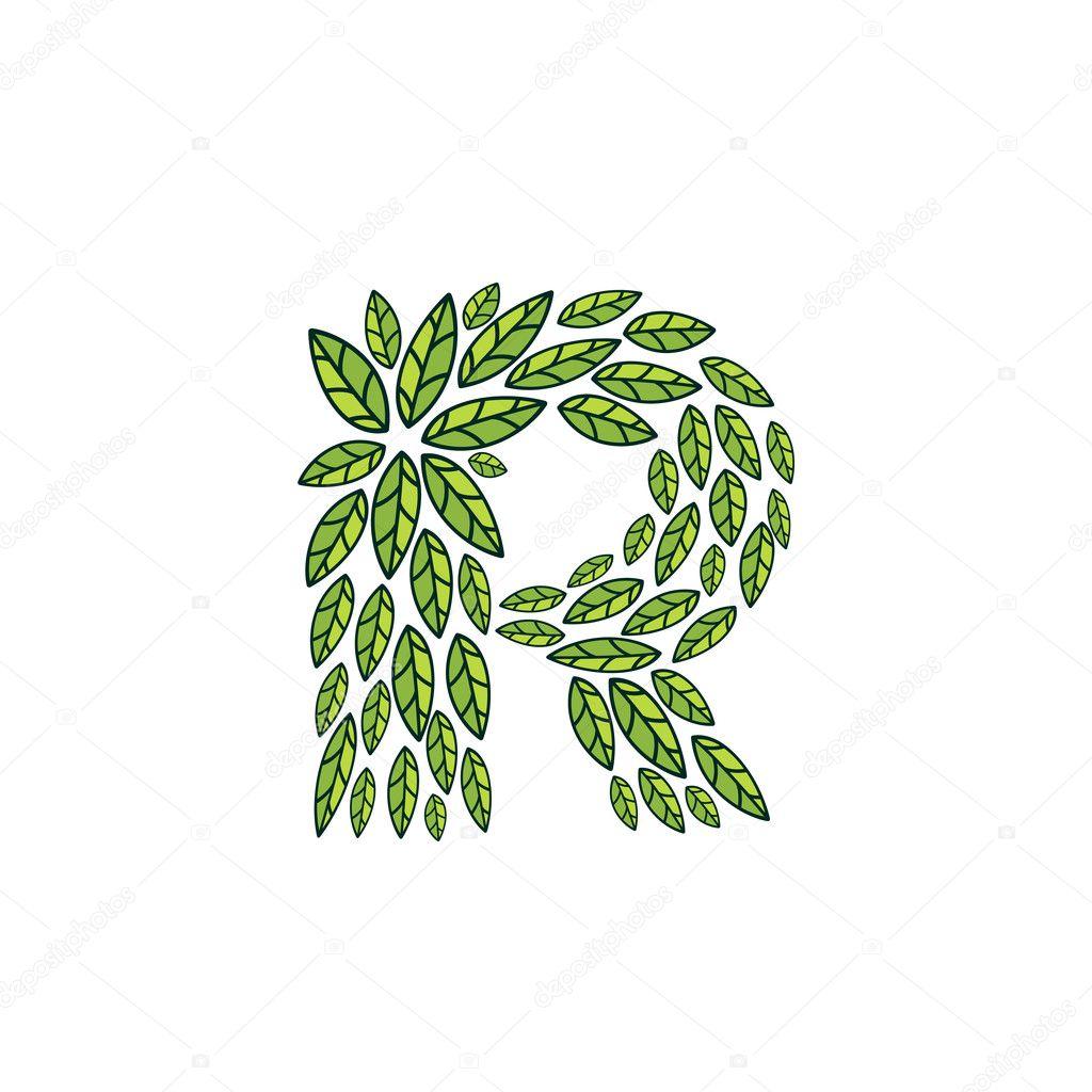 R letter logo formed by vintage pattern, line green leaves.