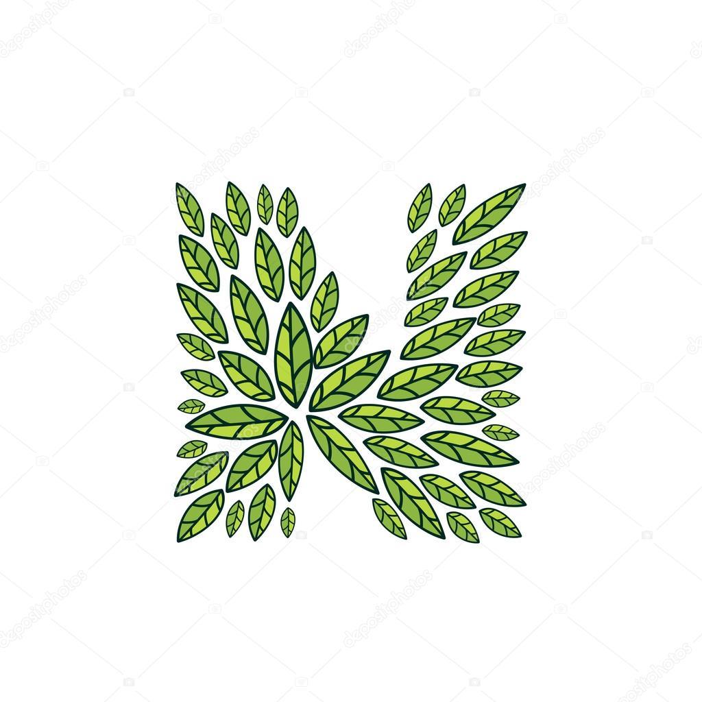 N letter logo formed by vintage pattern, line green leaves.