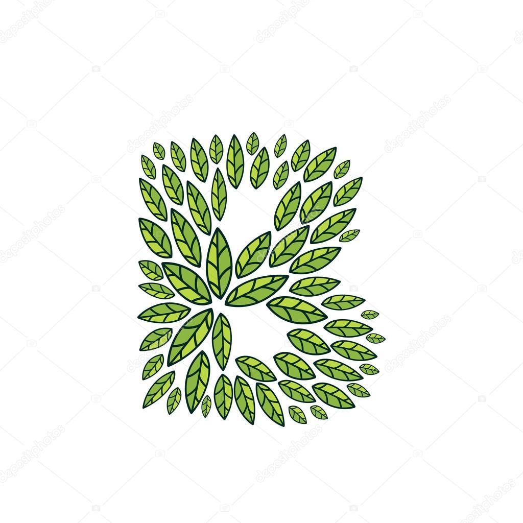 B letter logo formed by vintage pattern, line green leaves.