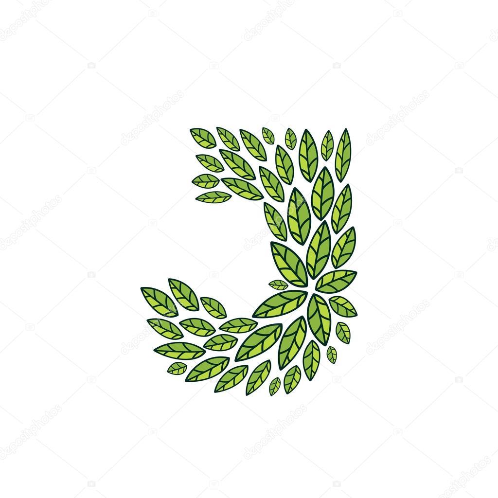 J letter logo formed by vintage pattern, line green leaves.