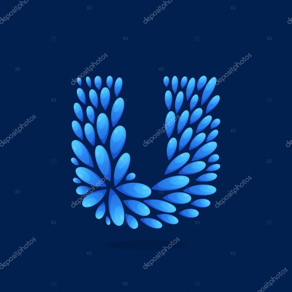 U letter logo formed by water drops.